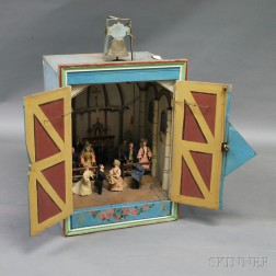 Early Automaton Mechanical Diorama Carnival Game with Original Jumeau Dolls