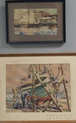 Lars Thorsen (American, 1877-1952)      Two Framed Watercolors:  Painting the Hull