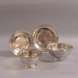 Two Sterling Plates and Two Silver-plated Paul Revere Reproduction Bowls