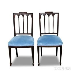 Pair of Federal-style Carved Mahogany Square-back Side Chairs