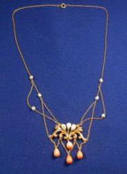 Edwardian 14kt Gold, Coral, and Pearl Festoon Necklace