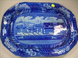 English Blue and White Landing of General Lafayette, New York, Transfer Decorated   Staffordshire Platter