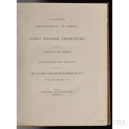 Collier, J. Payne (1789-1883) A Catalogue, Bibliographical and Critical, of Early English Literature, Forming a Portion of the Library