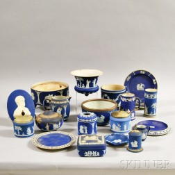 Twenty Wedgwood Blue Jasper Items