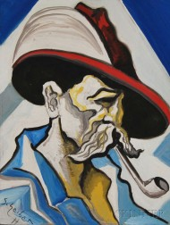 Attributed to Hugo Scheiber (Hungarian, 1873-1950)      Portrait of a Man with a Pipe.