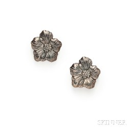 """Sterling Silver """"Blossom"""" Earclips, Buccellati"""