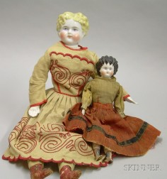 Two China Shoulder Head Dolls
