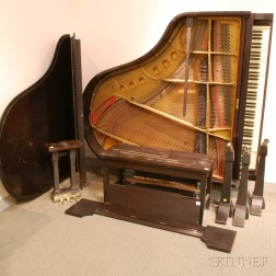 Steinway & Sons Ebonized Baby Grand Piano and Bench