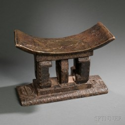 Ashanti Brass-covered Carved Wood Stool