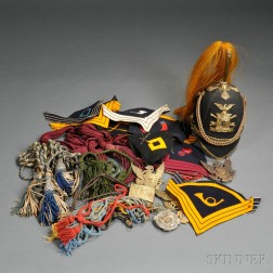 Model 1881-style New York Cavalry Helmet, Cap Plates, Cords, and Patches