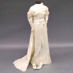 Victorian White Silk and Lace Wedding Dress