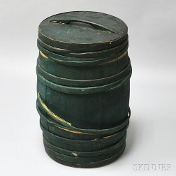 Green-painted Stave-constructed Barrel