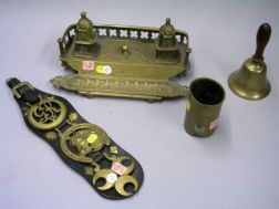 Gothic Revival Cast Brass Inkstand, a Hand Bell, Leather Strap of Three Horse Brasses, and a Japanese Mixed Metal Brush Pot.