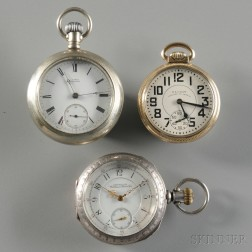 Three Waltham Open Face Watches