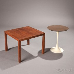 Eero Saarinen Tulip and Mies Van Der Rohe Krefeld Walnut and Aluminum Side Tables