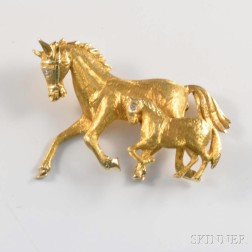14kt Gold and Diamond Horse Brooch