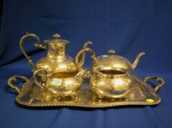 Four-Piece Reed & Barton Silver Plated Tea and Coffee Service with Tray.