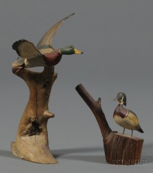 Two Carved and Painted Miniature Duck Figures