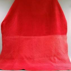 Red Cotton Sateen Whole Cloth Quilt
