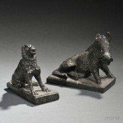 Two Grand Tour Green Serpentine Marble Figures of the Dog of Alcibiades and   Il Porcellino