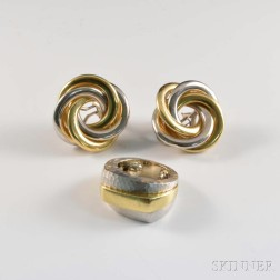 18kt Bicolor Gold Ring and Earrings