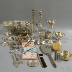 Large Group of Silver and Silver-plated Tableware and Vanity Items