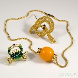 Two 18kt Gold Brooches and a 14kt Gold Necklace