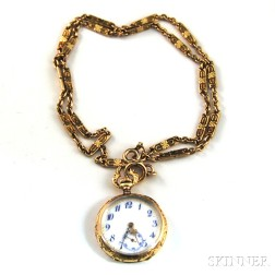 14kt Gold Open Face Pocket Watch and Watch Chain