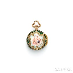Antique 18kt Gold, Enamel, and Diamond Open Face Pendant Watch, Tiffany & Co.