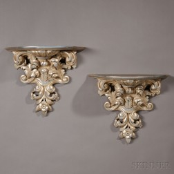 Pair of Silvered Wall Brackets