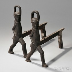 Pair of Cast Iron Soldier Andirons