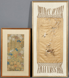Two Embroidered Silk Textiles