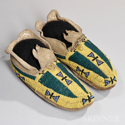 Cheyenne Beaded Hide Youth Moccasins