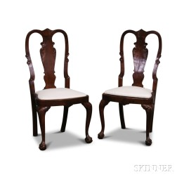 Pair of Queen Anne-style Carved Walnut Side Chairs