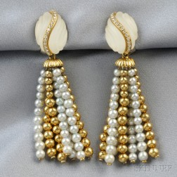 18kt Gold, Rock Crystal, Diamond, and Pearl Earpendants