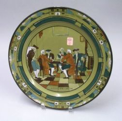 "1908 Buffalo Pottery Deldare Ware ""An Evening at Ye Lion Inn"" Charger"