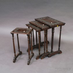 Set of Four Carved Walnut Nesting Tables