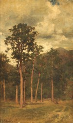 Andrew Fisher Bunner (American, 1841-1897)      Landscape with a Stand of Trees and Distant Mountain