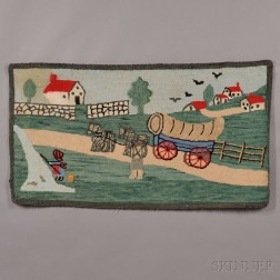 Pictorial Hooked Rug