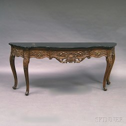 Rococo-style Carved Walnut Slate-top Console Table