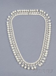18kt White Gold, Freshwater Pearl, and Diamond Necklace