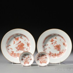 Pair of Chinese Export Porcelain Rouge de Fer Decorated Plates and a Pair of Saucers