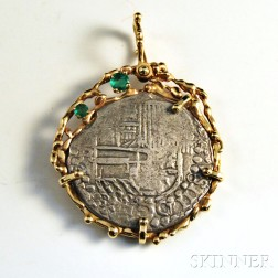 Spanish Coin in a 14kt Gold and Emerald Setting