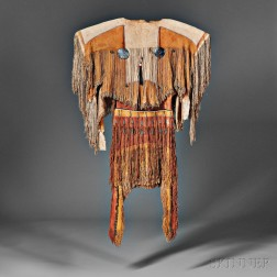 Rare and Important Plains Apache Woman's Dress and Moccasins