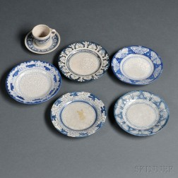 Five Dedham Pottery Plates and a Rabbit Demitasse Cup and Saucer