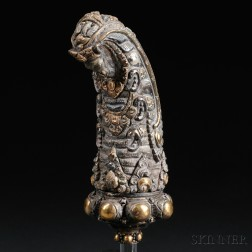 Silvered and Gilt Repousse Kris Hilt