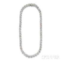 Platinum and Diamond Riviere, Mounted by Cartier