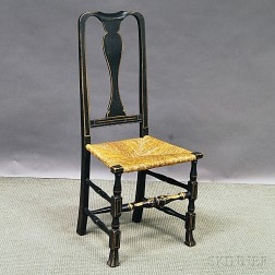 Queen Anne Black-painted Rush-seat Side Chair