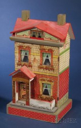 Two Small Lithographed Two-Storey Paper-on-Wood Doll Houses