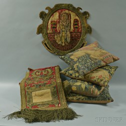 Group of Figural Embroidered Textiles and Four Tapestry-upholstered Pillows.     Estimate $200-300